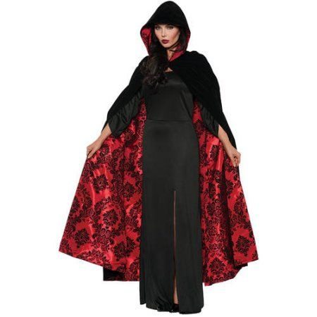 Adult Hooded Black Cape Cloak Halloween Red Lined Vampire Fancy Dress Costume