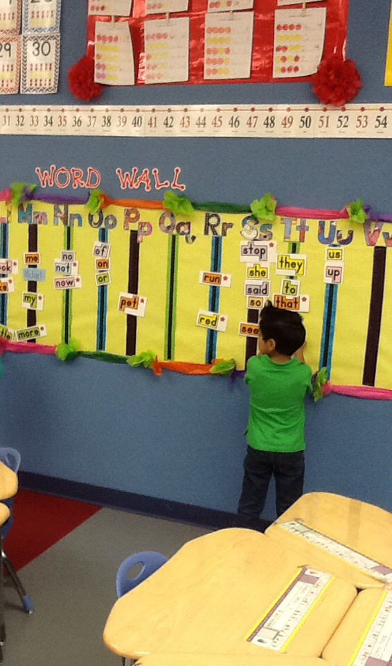 Kindergarten Word Wall: make it interactive by placing it lower and ...