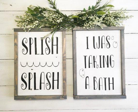 "Photo of Items similar to Joyful Island Creations ""Splish Splash i was taking a bath"" wood sign, bathroom signs, kids bathroom sign, neutral bathroom signs on Etsy"