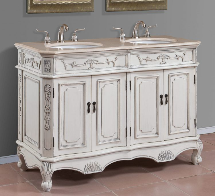50 inch Antique White Double Sink Bath Vanity with Cream Marble Top - Item  1153 - White Classic Vanity With Cream Surface And Double Sinks Plus