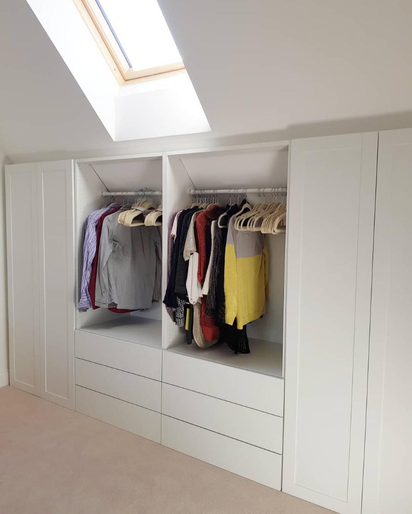 Ikea Platsa Loftclothes Mysigt Sovrum Snedtak Sovrum Inredning Garderob Snedtak