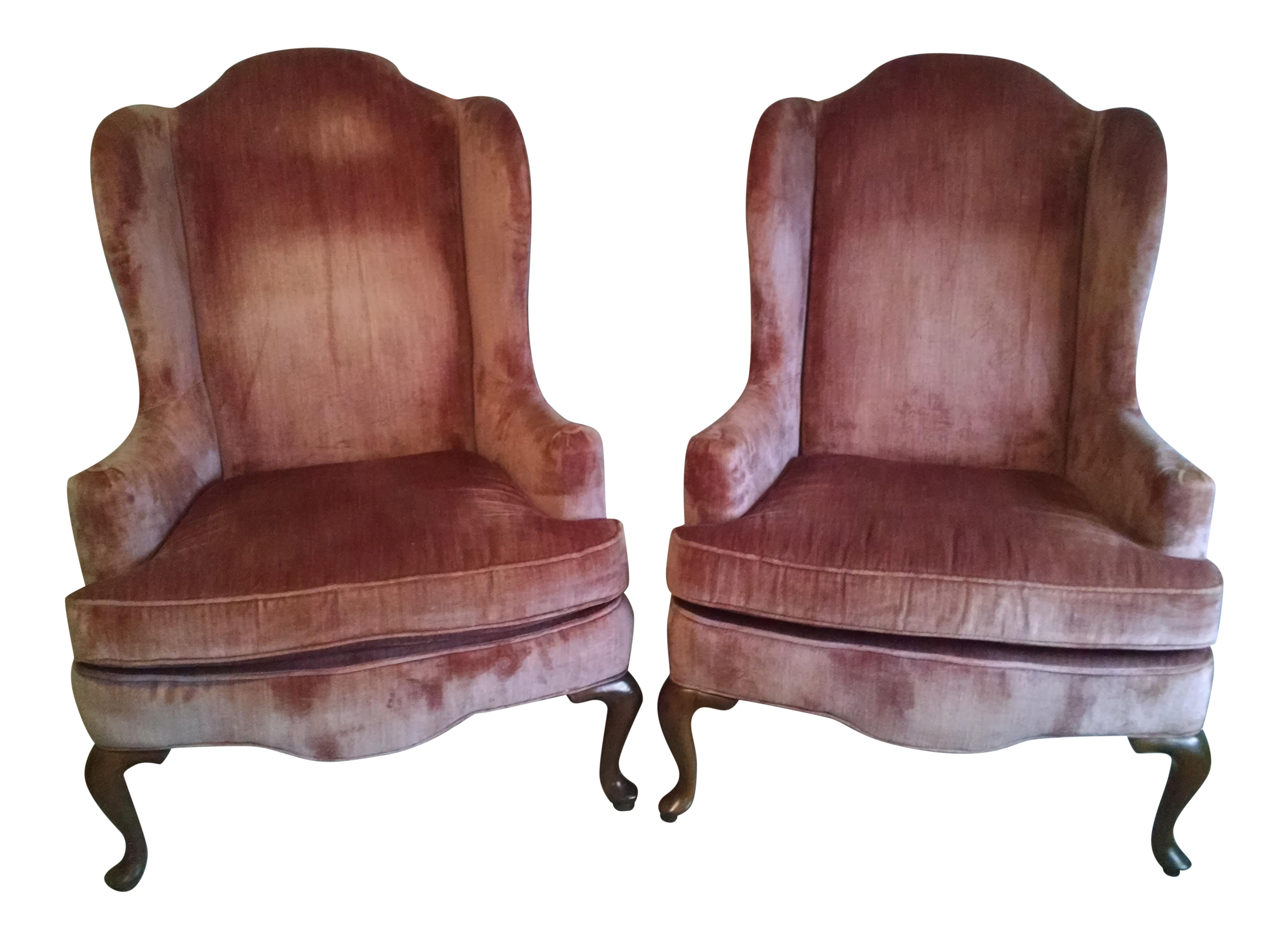 Highland House Of Hickory Queen Anne Rose Velvet Wingback Chairs A Pair On Chairish Com Wingback Chair Velvet Wingback Chair Chair