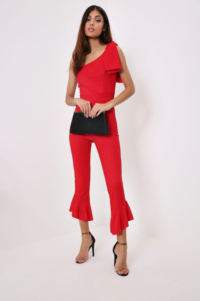a2a7eeb1161 Red One Shoulder Tie Jumpsuit
