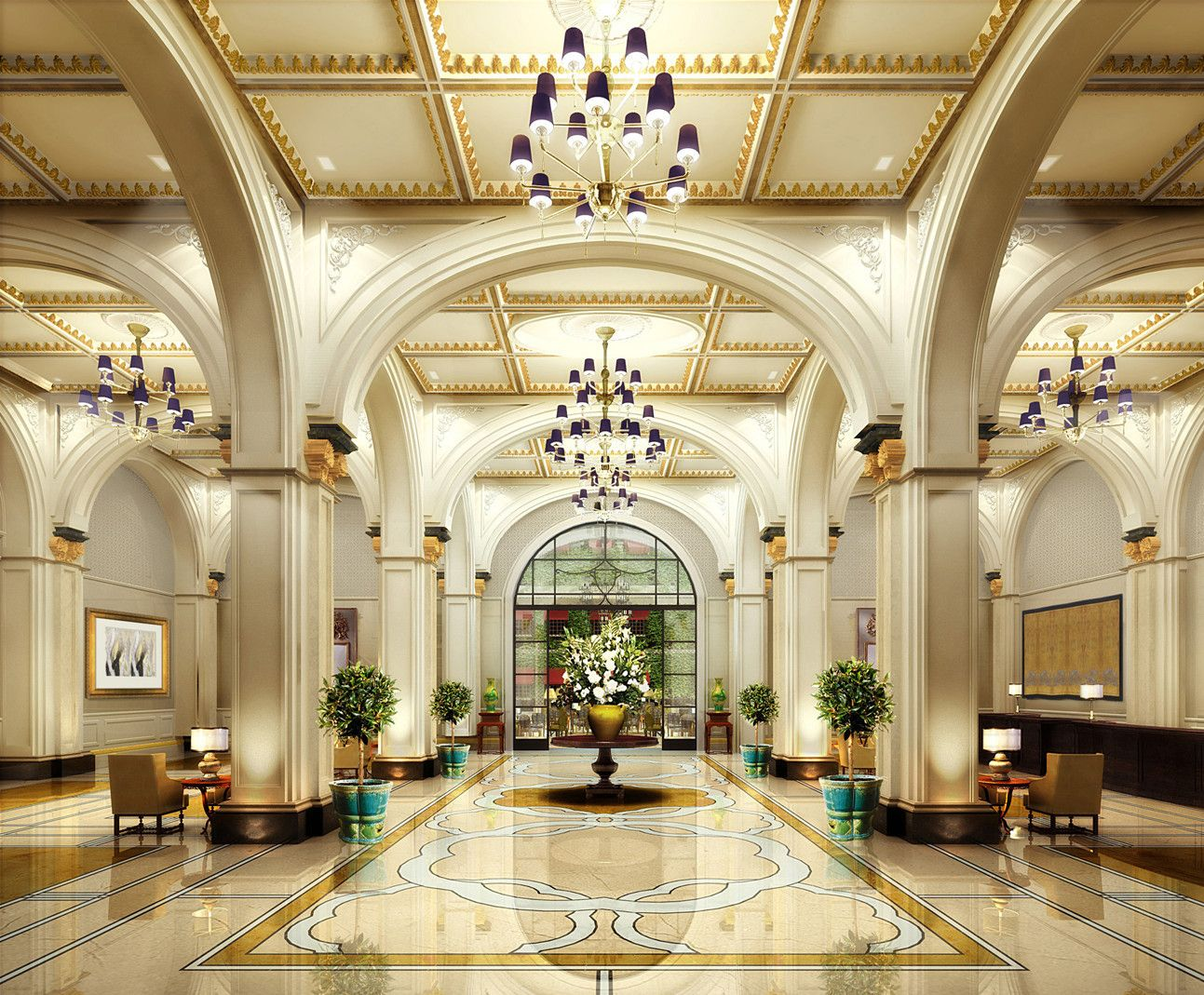 Luxury hotel lobby photos the astor hotel tianjin for Best hotel interior design