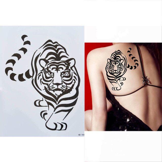 1 Sheet Tattoo Sticker for Women Men Body Arm Art HB388 Design Red - time clock spreadsheet