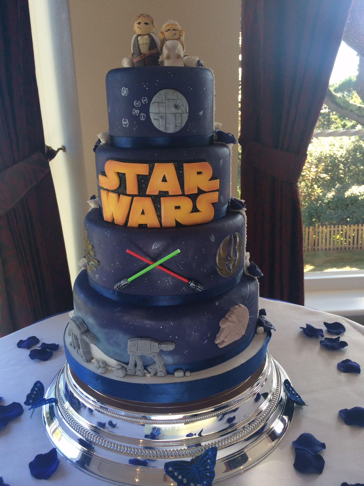 My Half Star Wars Half Traditional Wedding Cake Very Proud Of The Outcome Star Wars Wedding Cake Star Wars Wedding Theme Star Wars Wedding