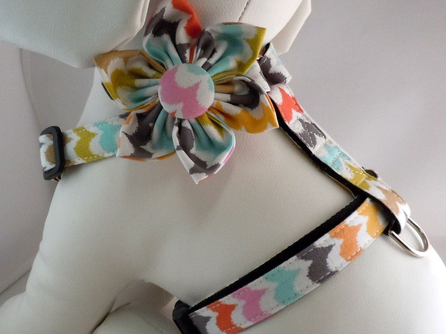 Dog Harness with Flower or Bow Tie Set - Traditional or Step-In - Pick Any Fabric in Shop by LearnedStitchworks on Etsy https://www.etsy.com/listing/74198000/dog-harness-with-flower-or-bow-tie-set