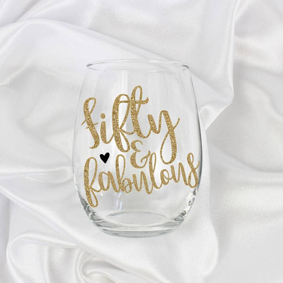 50th birthday, 50 and Fabulous wine glass, 50th birthday gift, 50th birthday gift for her, 50th birthday women, 50th birthday gift for women