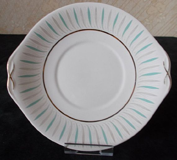 Vintage Queen Anne bone china cake plate decorated with an elegant design in turquoise and grey.