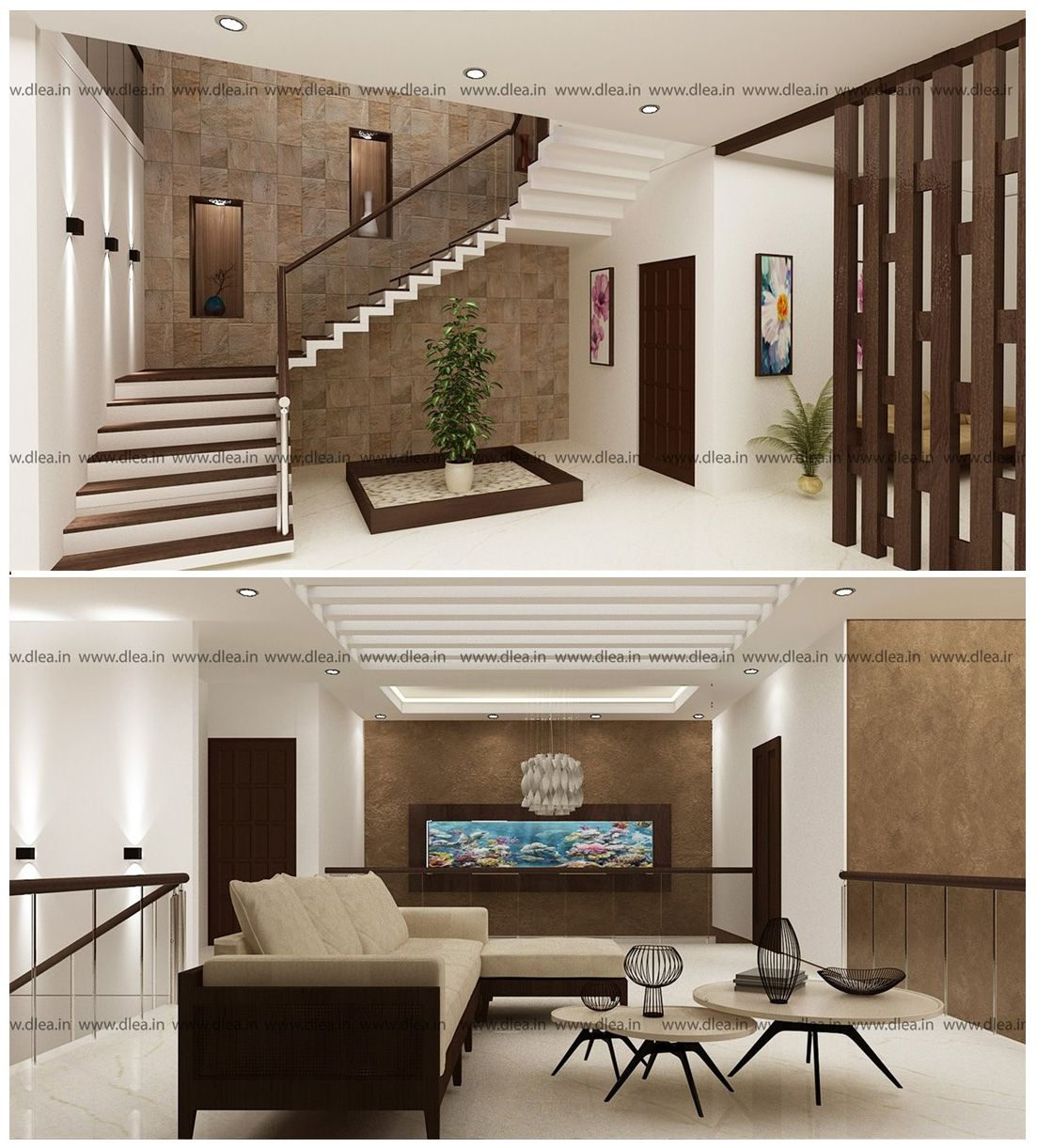 Double Height Living Room Bunglow Interior Design In Thanjavur