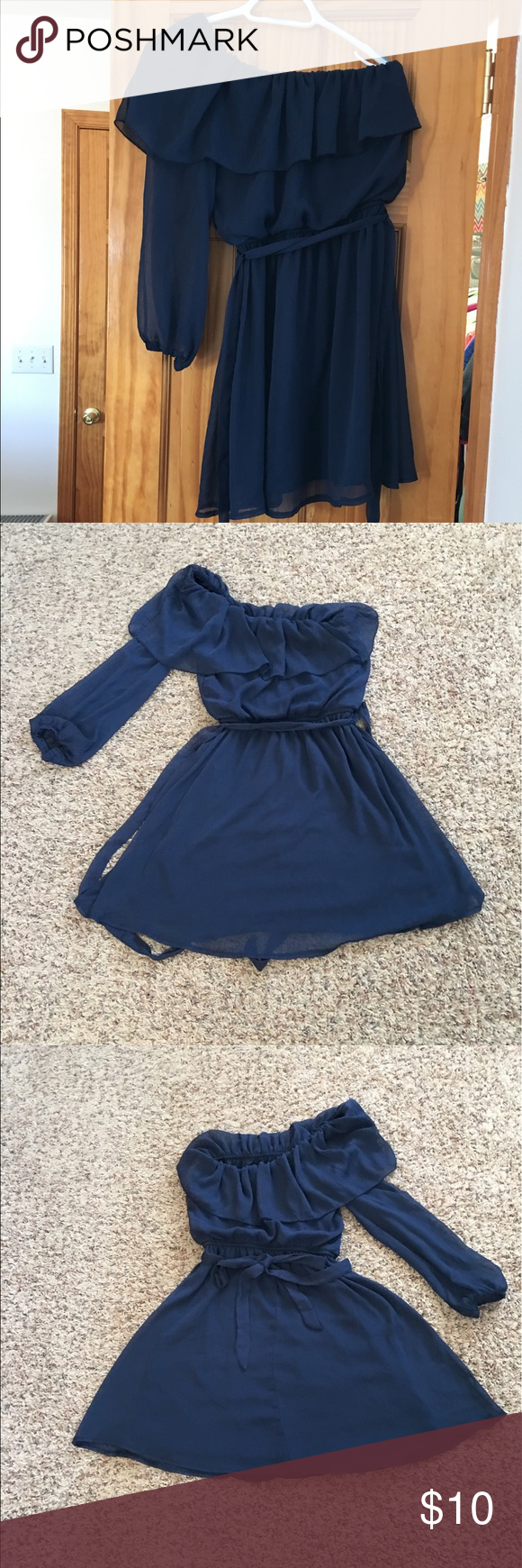 Wet Seal Dress Wet Seal One Shoulder Dress. Comes above the knee, has the belt you can tie in a bow. Navy, only worn a couple times Wet Seal Dresses One Shoulder