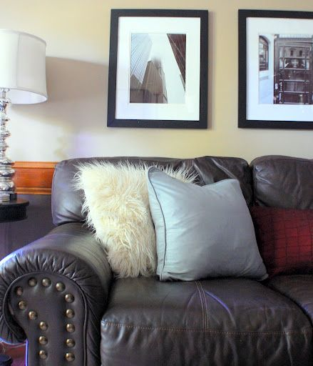 Admirable Feather Filled Pillows Brown Leather Couch Black White Caraccident5 Cool Chair Designs And Ideas Caraccident5Info