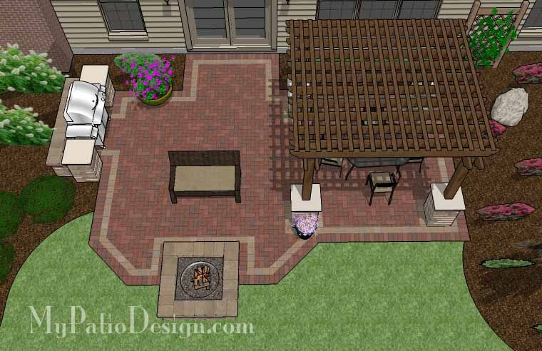 backyard brick patio design with 12 x 12 pergola grill station and stone fire pit - Backyard Patio Design Plans