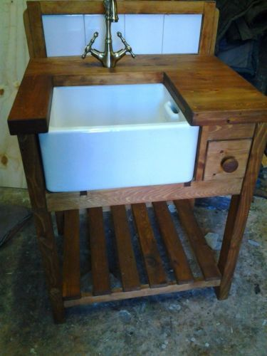 Shaker Rustic Style Belfast Sink Kitchen Unit Complete With Worktop, Taps Part 63
