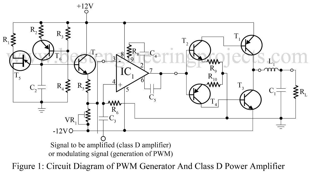 Pwm Generator And Class D Power Amplifier Projects To Try Schematic