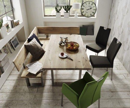 Tisch Eckbank Eckbankgruppe Esszimmer Wildeiche massiv gelt organisch Baumkante  Wohnung