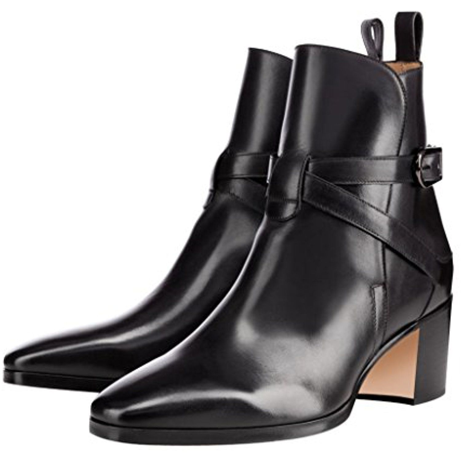Women Pointed Toe Ankle Booties Retro Block Low Heel Boots Patent Dress Shoes With Buckles