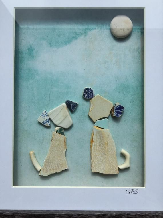 Framed Irish Sea Pottery pictures ~ wall art ~ Handmade, unique gift ~ Dogs Hounds Puppies ~ Dog Lover / Walker present