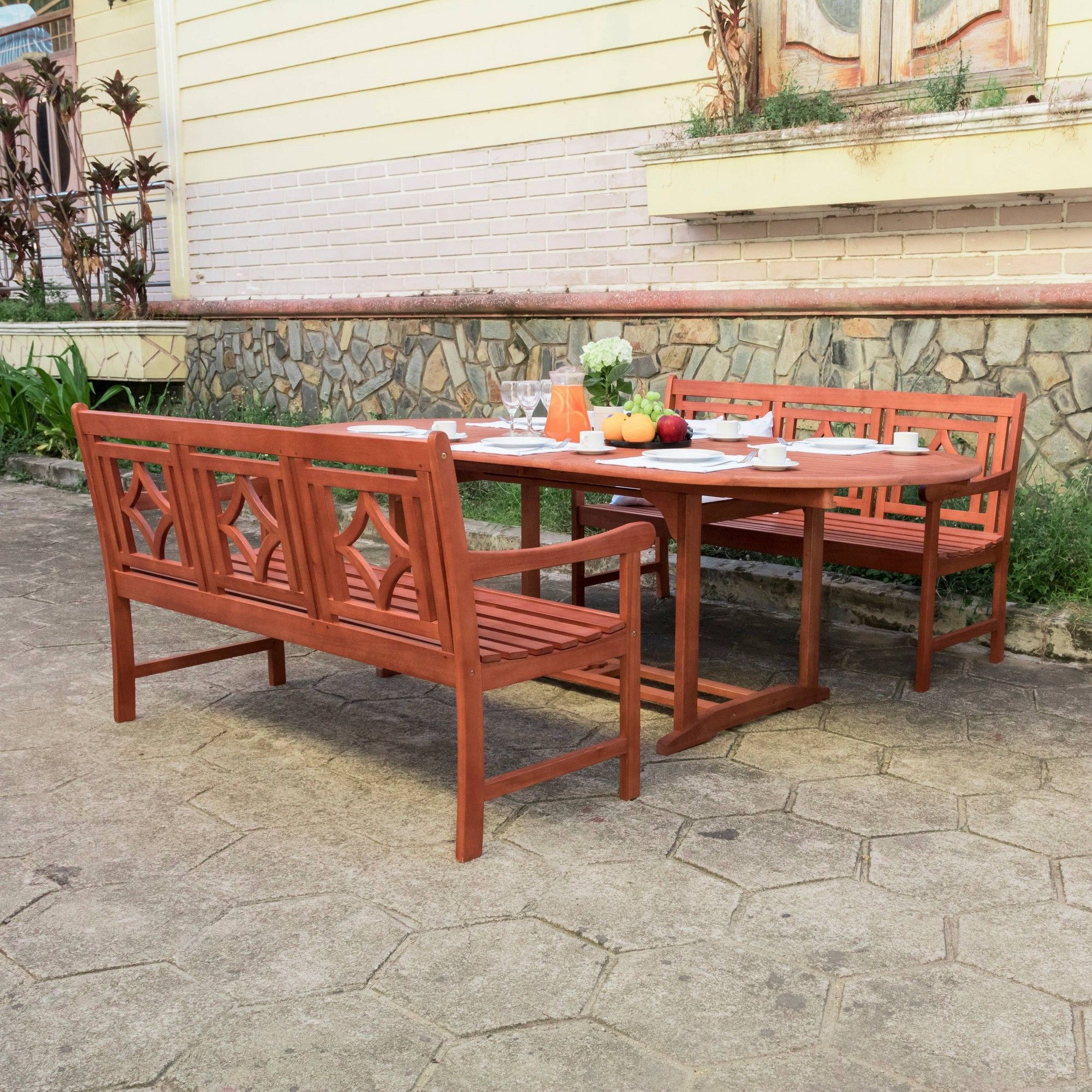 Vermont Extendable Garden Table And Chair Set: Malibu 3pc Wood Extendable Outdoor Patio Dining Set