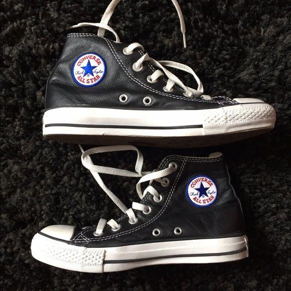 Black Leather High Top Chucks Converse