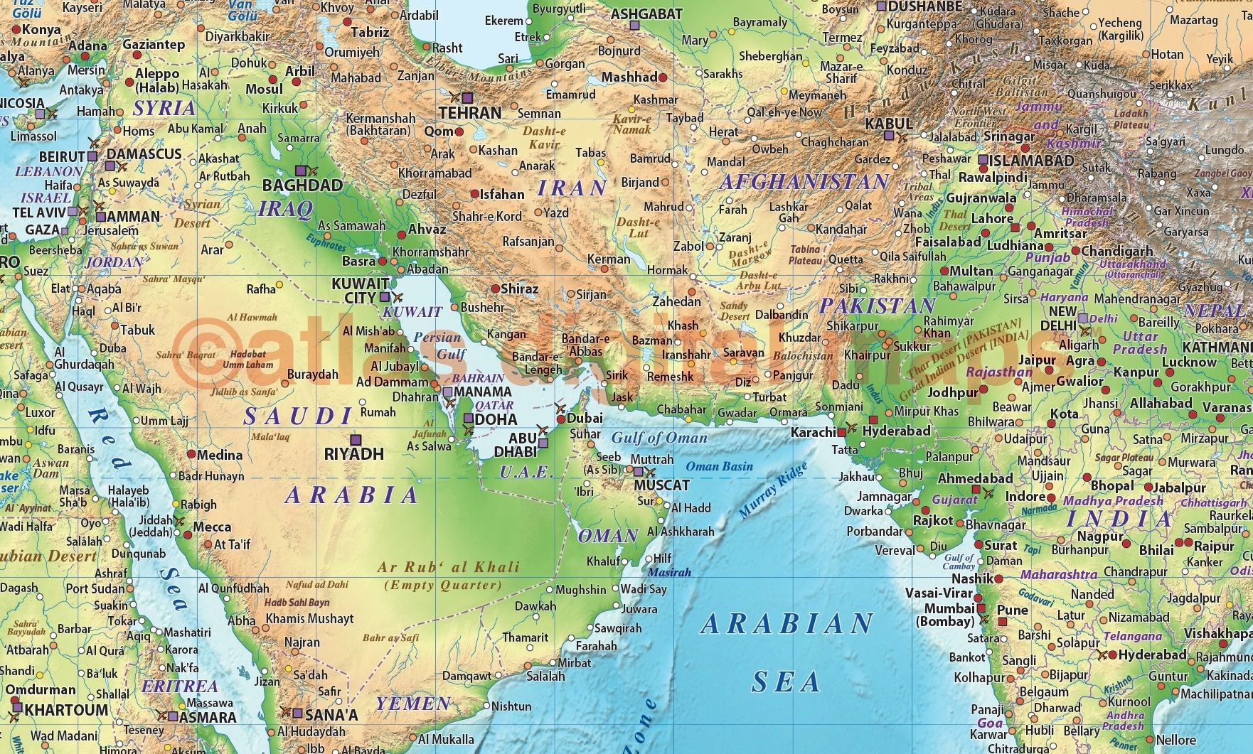 Land and sea relief map of the Middle East in green and blue ...