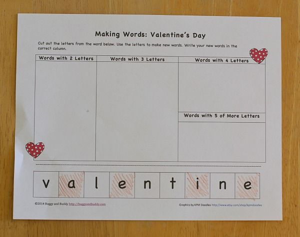 Valentines Day Activities Making Words Free Printable  Making