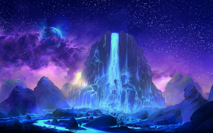 Download wallpapers mountains, waterfall, night, starry
