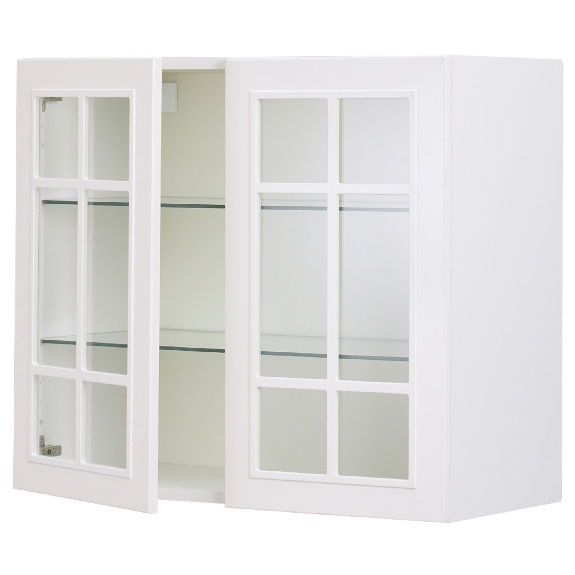 ikea akurum wall cabinet with 2 glass doors birch effect stt white - Cabinet With Glass Doors