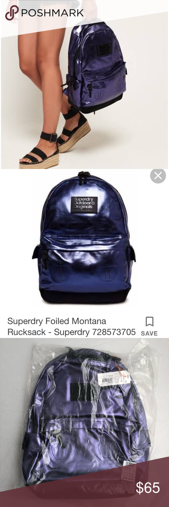 c12d87763f70e SuperDry Foiled Montana Navy metallic rucksack SuperDry Foiled Montana Navy  metallic rucksack backpack. Brand new in bag with tags. Only took out for  pics.