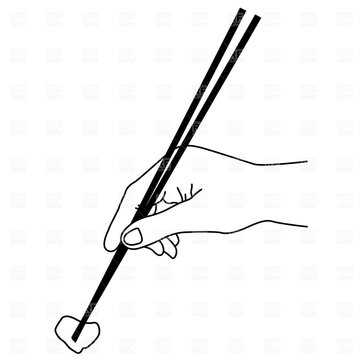 Line Drawing Hands With Chopsticks Sushi