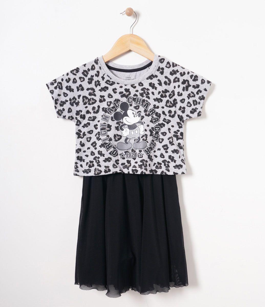 ddddfcc05d Vestido infantil Manga curta Gola redonda Estampado Com recortes laterais  Marca  Mickey Mouse Tecido