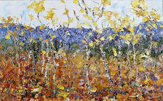 "Daily Painters Abstract Gallery: Original Palette Knife aspen Tree Landscape Painting ""Reaching For The Gold"" by Colorado Impressionist Judith Babcock"