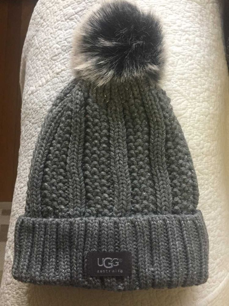 UGG Winter Gray Womens Cable Knit Fleece Lined Winter Pom Pom Beanie Hat   fashion   bfb5a9282