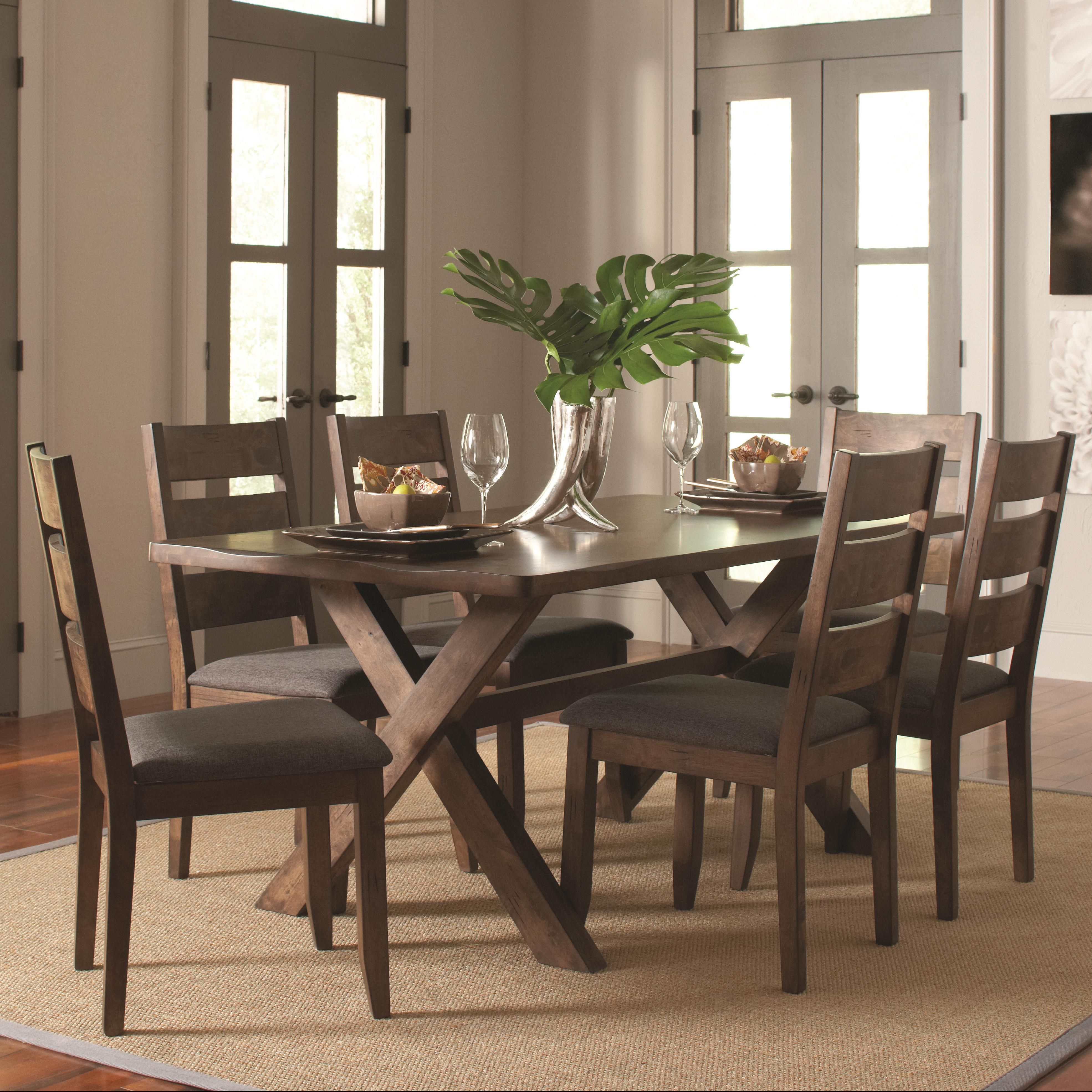 Alston Rustic 7 Pc Table & Chair Set by Coaster Trestle