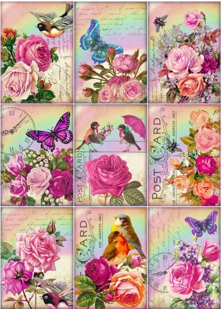 9 Rose Butterfly Bird Flower Vintage 155 lb Scrapbook Paper Craft Card Tags | eBay