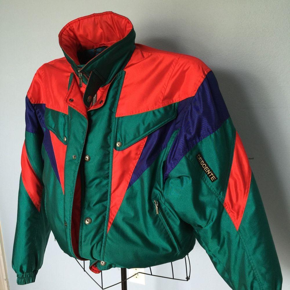 3bcbcdf222 Vintage Descente Japan Ski Snow Winter Jacket Coat sz XXL 2XL Red Green  Retro  Descente  BasicSkiJacket