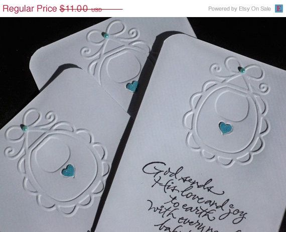 Baby Shower Invitations Embossed & Handstamped by AuriesDesigns #christian #religious