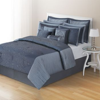 Home Classics 174 Desiree 12 Pc Comforter Set King Blue Comforter Sets Comforter Sets Queen