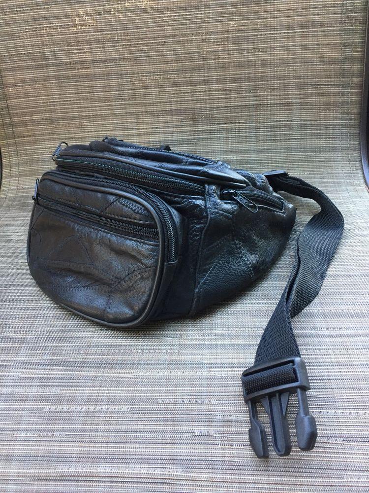 5d3dbfd81f7 Genuine Leather Black Fanny Pack Waist Bag Hip Belt Pouch Travel Purse  Women  fashion