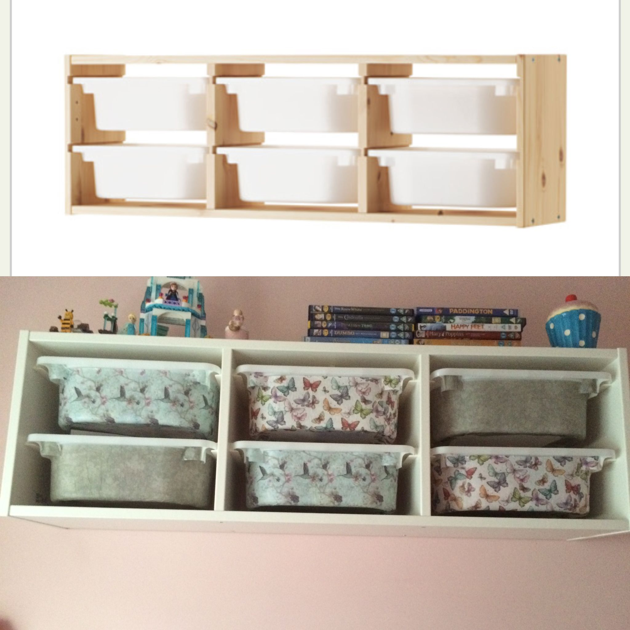 ikea trofast storage boxes made over with decoupage ikea. Black Bedroom Furniture Sets. Home Design Ideas