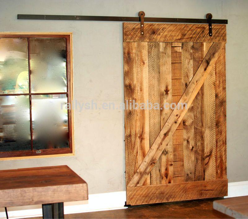 estilo americano puerta corredera granero con pista plana slida puerta de madera