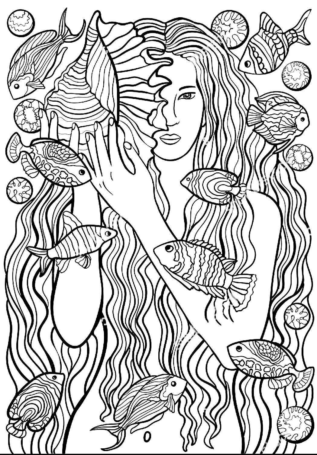 Ausmalbilder Für Erwachsene Meerjungfrau : Pin Von Elisabeth Quisenberry Auf Sirens Of The Sea Pinterest