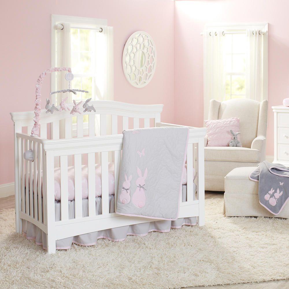 Koala Baby Sweet Bunny 4 Piece Crib Bedding Set Gray Pink My