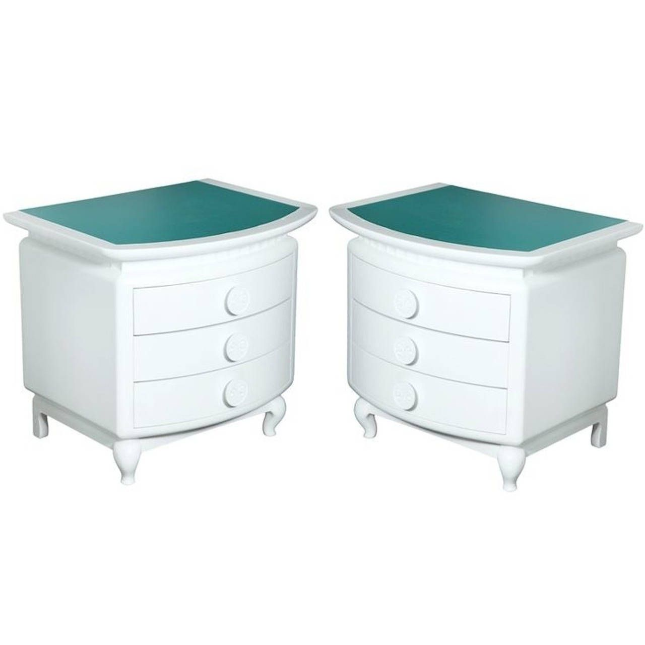 Pair Of Three Drawer Morris Lapidus Nightstands From Eden Roc Hotel, Miami  | From