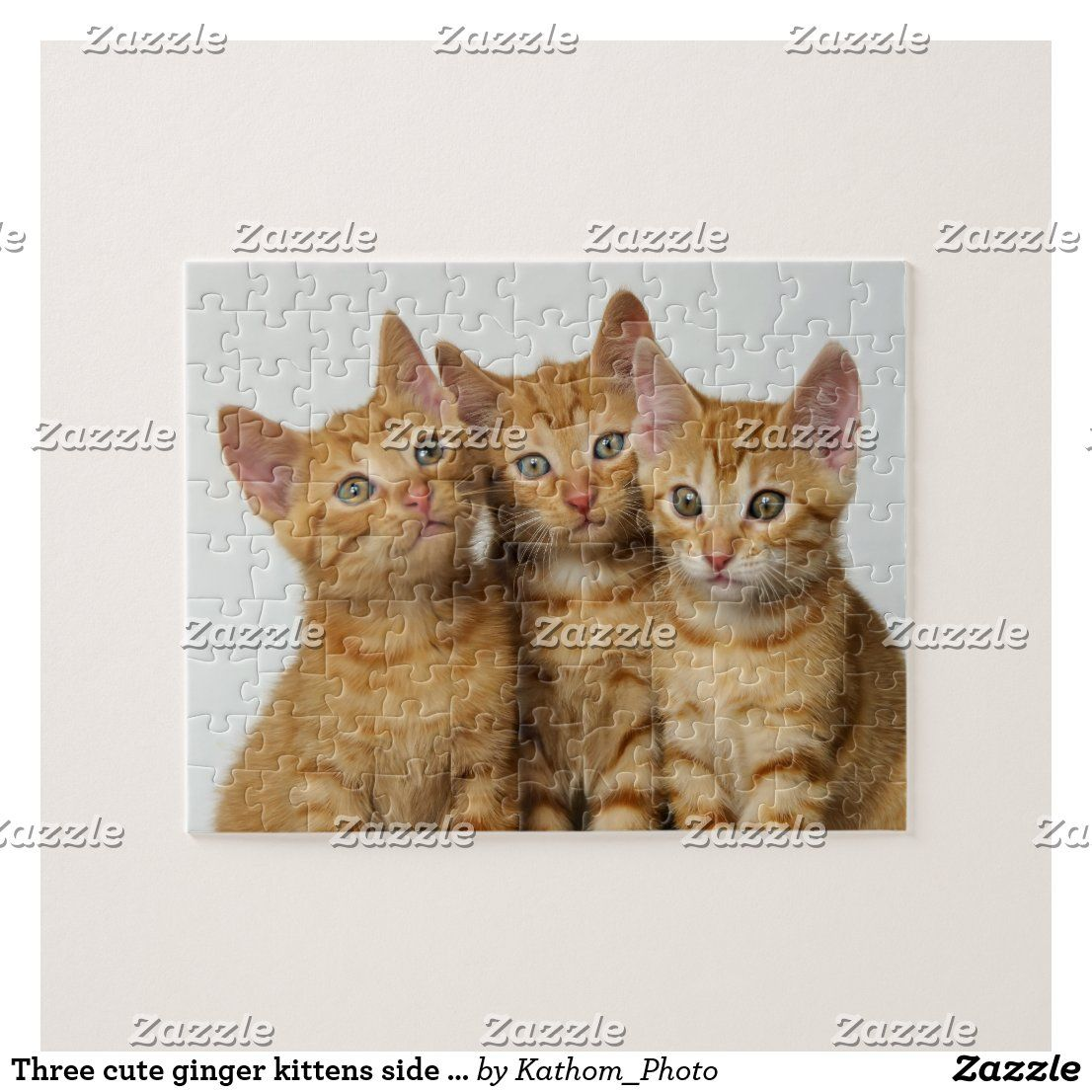 Three cute ginger kittens side by side jigsaw puzzle | Zazzle.com