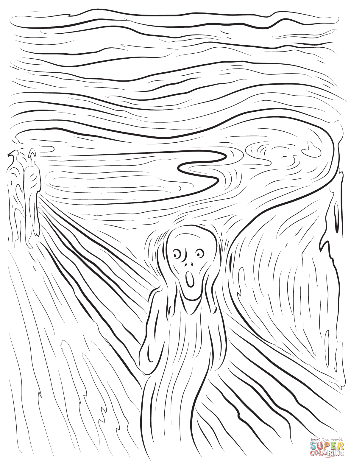 The Scream by Edvard Munch coloring page from Edvard Munch