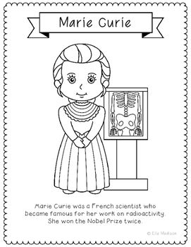 MARIE CURIE Inventor Coloring Page Craft or Poster with