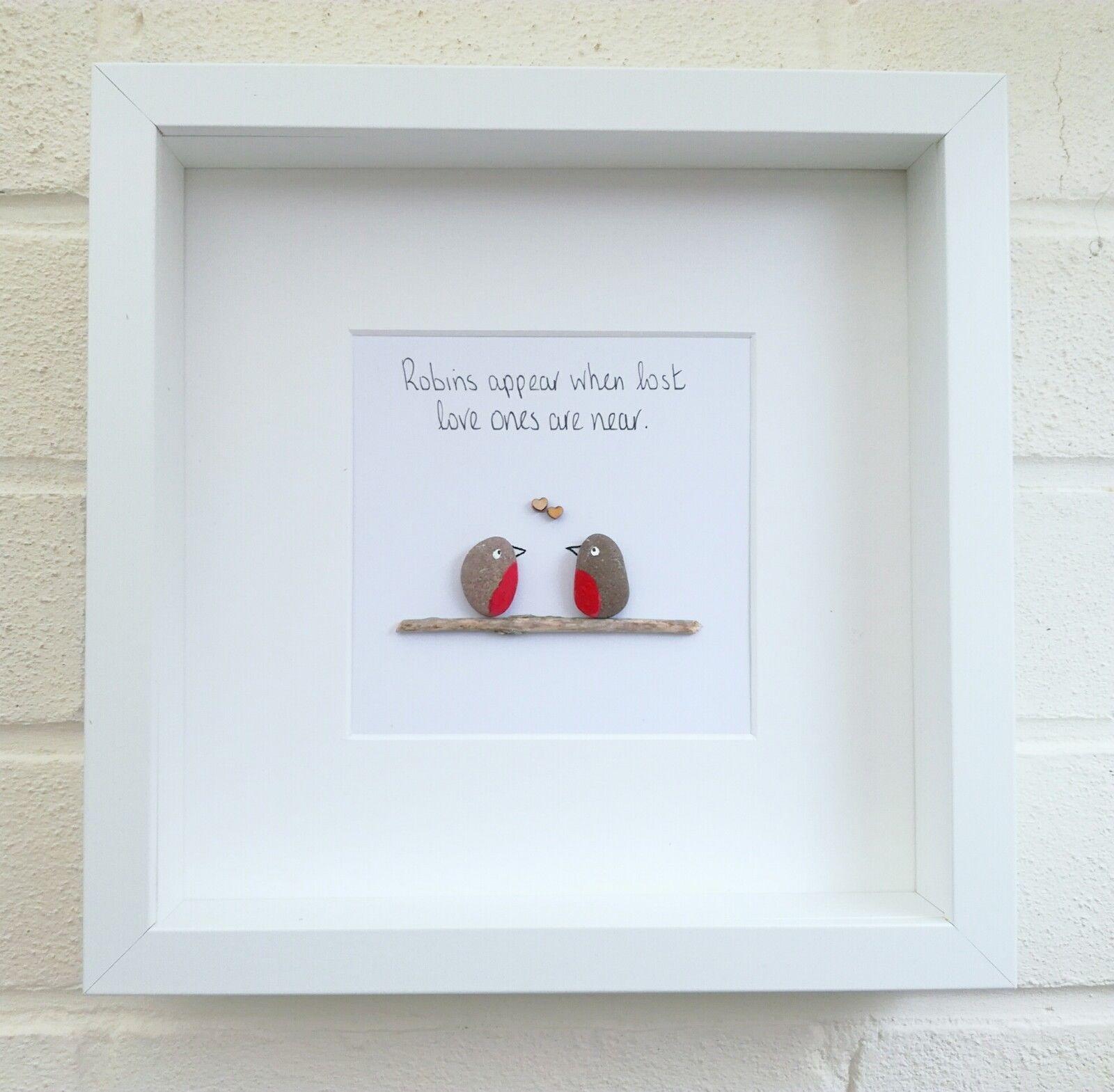 Pebble picture pebble art love robins birds robin gift idea home