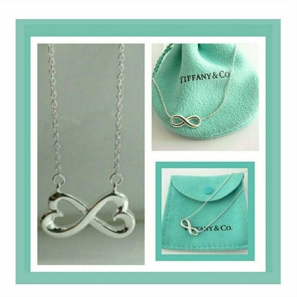 Tiffany like eternity sterling silver necklace Not Tiffany but looks like a Tiffany eternity sterling silver necklace it is sterling silver. Actual necklace on left in photo. Jewelry Necklaces