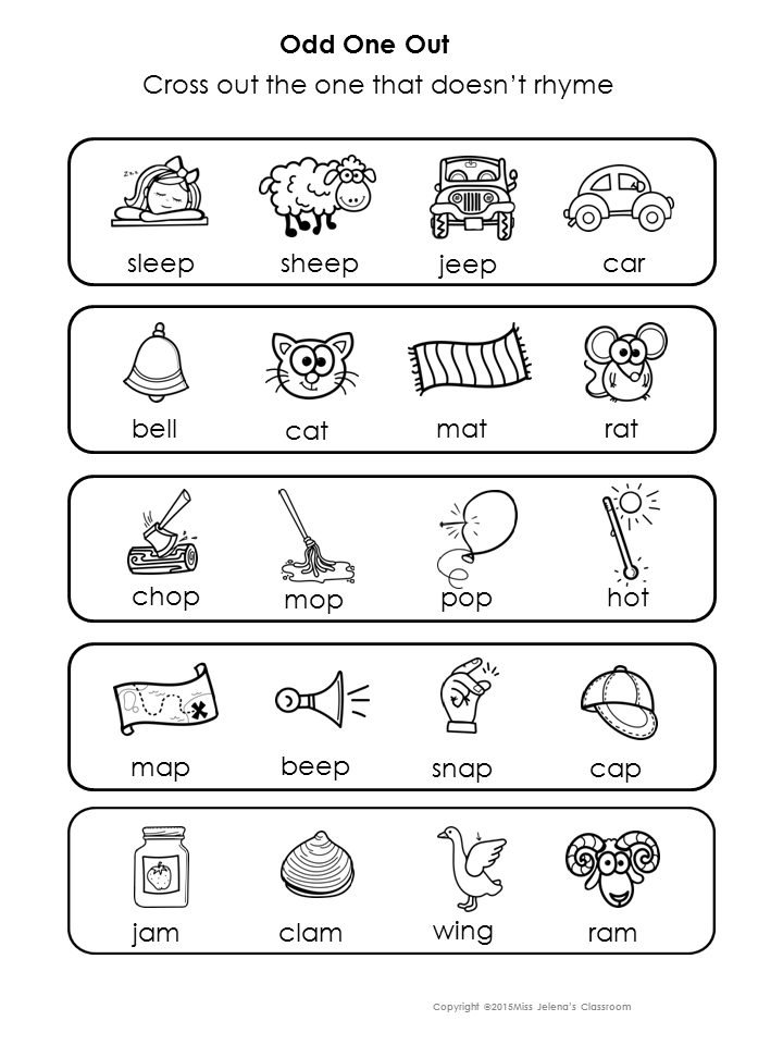 Rhyming Words Odd One Out Special Education My TpT